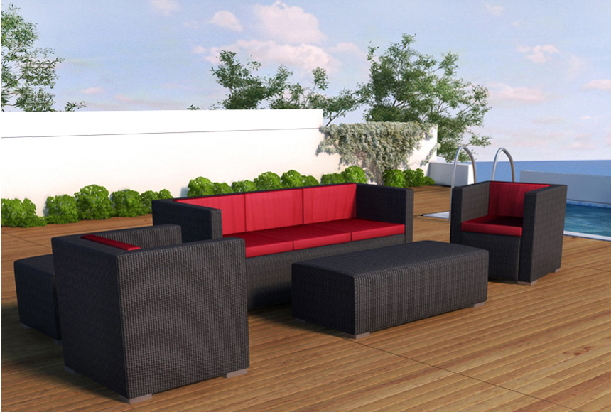 Outdoor Furniture Sofa Patio Sectional Wicker Resin Couch Set